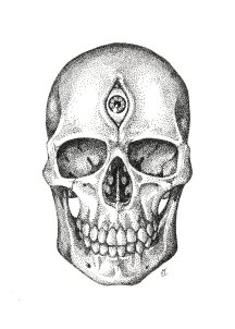 "Third Eye Skull. India ink on paper. 2017. 9""x11""."