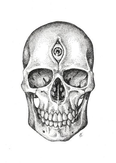 "Third Eye Skull. India ink on paper. 2017. 9""x11""."