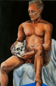 "Male Figure Study. Oil on canvas. 2017. 48"" x 36""."