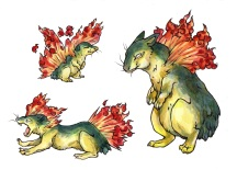 Cyndaquil, Quilava, and Typhlosion Pokemon Fanart. Watercolor and ink on paper. 2018.