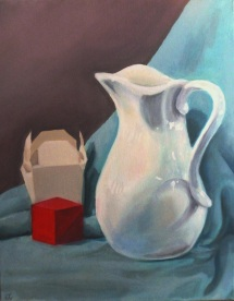 "Still Life with Pitcher. Oil on canvas. 2015. 20"" x 16""."
