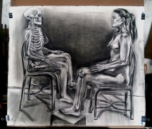 "Woman and Skeleton Study. Charcoal on paper. 2018. 48"" x 48""."